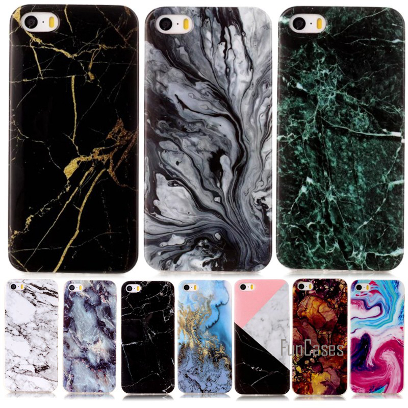For Case Apple iPhone SE 5S 5 5C S Mobile Phone Cases Smooth Marble Stone Rock Soft Cover Shell Hoesjes Capa Coque Capinha Etui