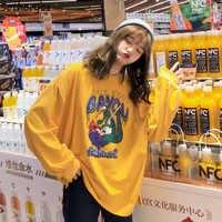 T-shirts Frauen Oversize Cartoon Gedruckt Kawaii Oansatz Freizeit All-gleiches T-shirt Lange Hülse der Frauen Brief Koreanischen Tees Schöne