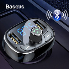 Baseus LCD Display FM Transmitter Car Charger Dual USB Phone Charger Handsfree Bluetooth M