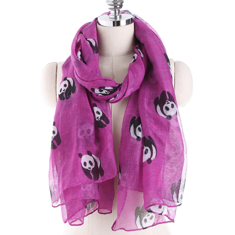 Lnrrabc 2017 5 Kleuren Nieuwe Damesmode Sjaal Outdoors Leuke Panda Print Zomer Bali Garen Pashmina Vrouwelijke Sjaal Dual Gebruik