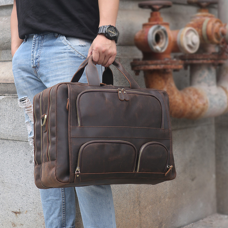 HTB1B9yJQFzqK1RjSZFvq6AB7VXaA MAHEU Vintage Leather Mens Briefcase With Pockets Cowhide Bag On Business Suitcase Crazy Horse Leather Laptop Bags 2019 Design