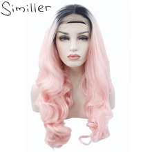 Similler Long Curly Lace Front Wigs For  Women Ombre Dark Roots To Pink Glueless Synthetic Hair Heat Resistant Middle Parting