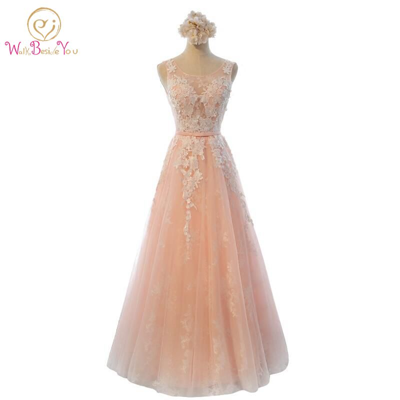 100% Real Image Robe De Soiree Lace Pink Long Evening Dresses Bride Banquet Elegant Floor-length Party Prom Dresses