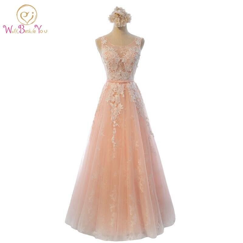 100% реальное изображение халат де вечер кружева розовый длинные вечерние платья невесты банкет элегантные платья длиной до пола, выпускного вечера