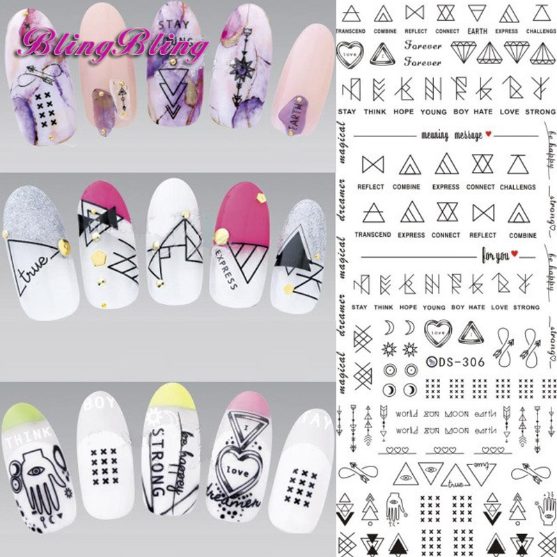 2 Sheet Nail Art Designs Water Transfer Nails Sticker Dream Triangle Geometrical Figure Nail Wraps Manicure Fingernails Decal 1 sheet nail sticker ble1374 red cartoon betty boop nail art water transfer sticker decal sticker for nail wraps