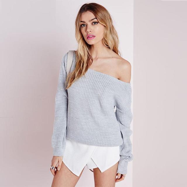 2016 Новый Женская Мода Свитер Полный Рукавом Твердые Свитер С Плеча Дизайн Пуловеры Свитера