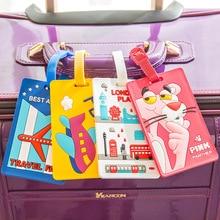 Kawaii Stitch Doraemon Suitcase Luggage Tag Cartoon ID Address Holder Baggage Label Silica Ge Identifier Travel Accessories
