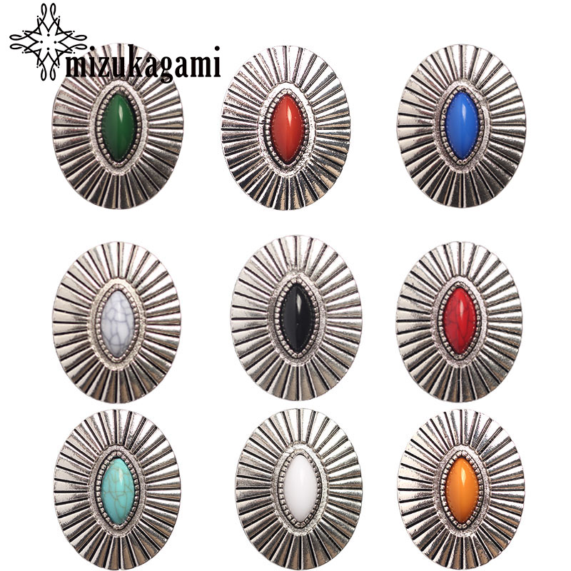 3pcs/lot Retro Zinc Alloy Oval Silver Decorative Buttons Charms Pendants For DIY CONCHO Hair Jewelry Accessories