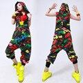 Новая мода Хип-Хоп Танец износа производительности Костюм Европейский свободный leopard шаровары джаз комбинезон Камуфляж один кусок Брюки