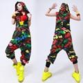Nueva moda Hip Hop Danza desgaste Del funcionamiento Del Traje Europea loose leopard harem jazz mono de Camuflaje Pantalones de una sola pieza