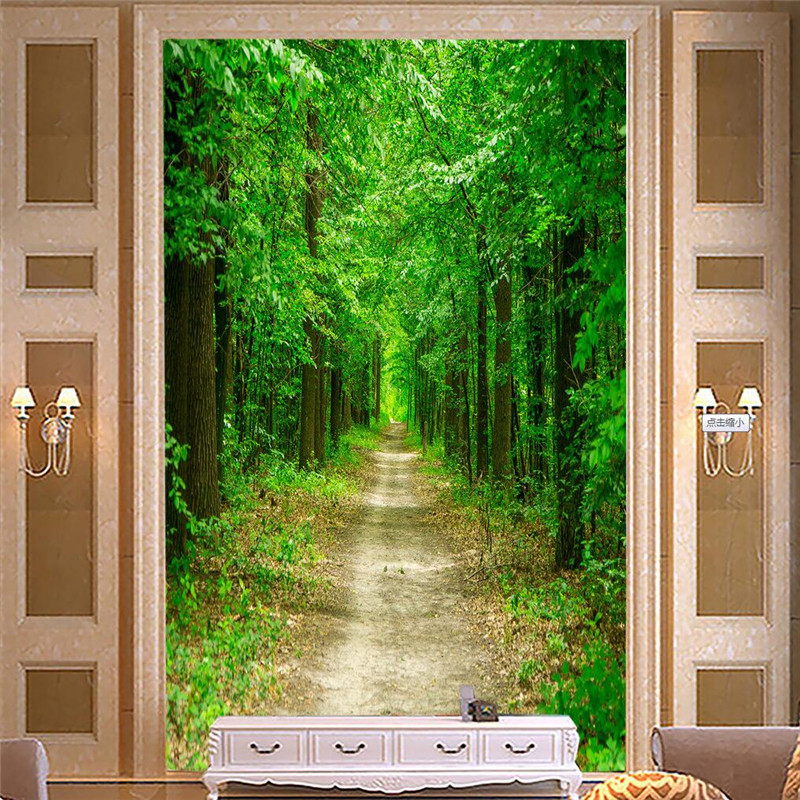 Wall Paper 3d Art Mural Hd Big Green Forest Woods Trail