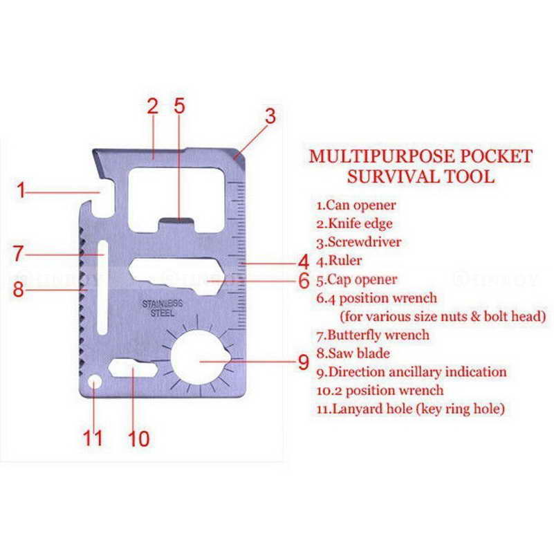 11 in 1 Multifunction Outdoor Hunting Survival Camping Pocket Military Card Knife Silver EDC Multi Tools