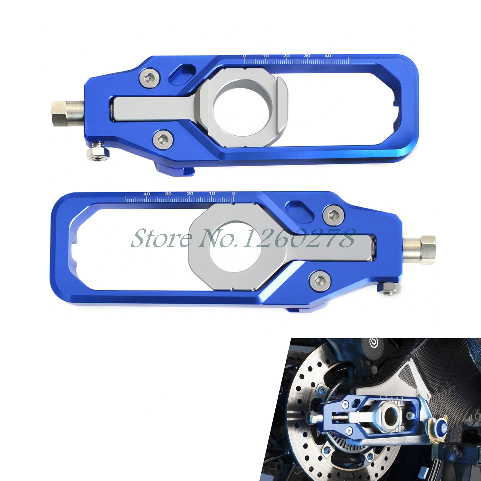 Motorcycle Chain Adjuster Tensioners For BMW S1000RR 2009-2017 S1000R 2013-2017 HP4 2013 2014 ca bm001 bk new motorcycle cnc billet rear axle spindle chain adjuster blocks for bmw hp4 2012 2014 s1000r 2013 2015 s1000rr 09