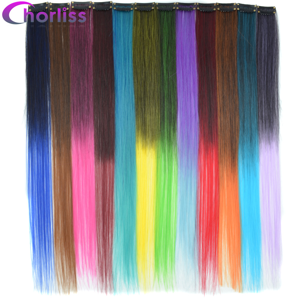Supply Alileader Clip In Hair Extensions 50cm 20 Inch Long Ombre One Piece Synthetic Straight Fake Hair Clip Tow Tone Pink Purple Blue 2019 Official Hair Extensions & Wigs
