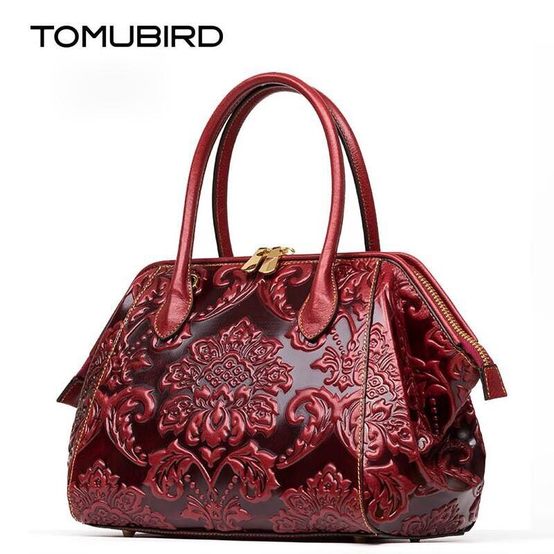 TOMUBIRD  Nuevas mujeres bolso de cuero genuino marcas de alta calidad de cuero