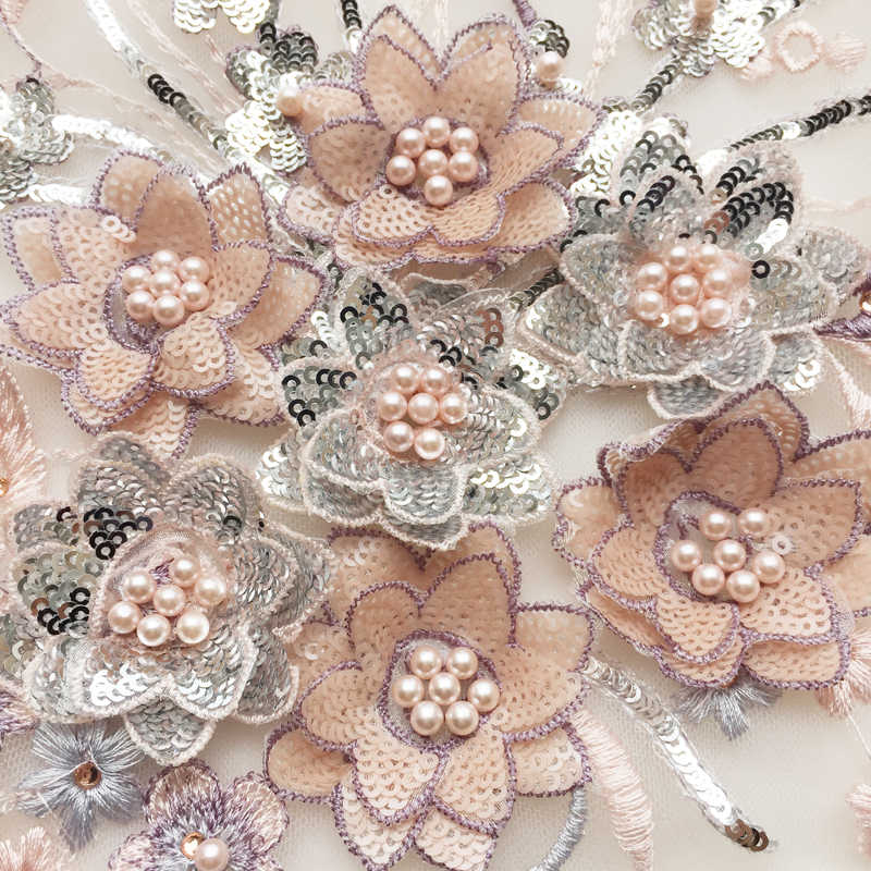 ... 29 25cm 3D Flower Colorful Mesh Embroidered Pearl Beaded Lace Applique  With Sequins DIY Lace 805f511927f0