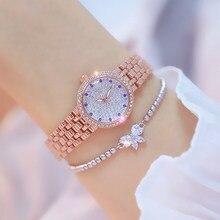Bs mulheres relógios casual banda rosa ouro zircon marca superior relógio feminino senhoras pulseira de quartzo saat reloj mujer relogio presentes