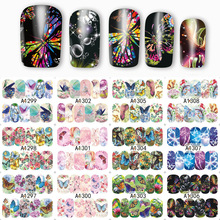 1 Sheet Nail Art Water Transfer Nails Sticker Butterfly Series Water Decals Stickers Decoration Manicure Tools Wraps A1297-1308 yzwle 1 sheet diy designer water transfer nails art sticker nail water decals nail stickers accessories yzw 8109