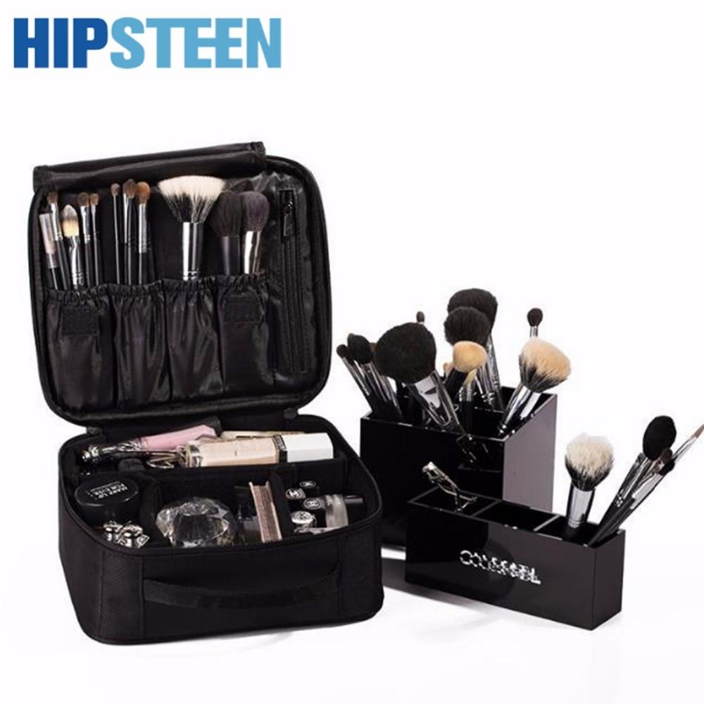 цена на HIPSTEEN Double-Layer Women Men Cosmetic Makeup Case Box Big Capacity Waterproof Cosmetics Organizer Bag Make Up Bag - Black