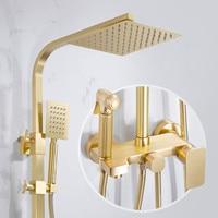 Bathroom Accessories Solid Brass Shower Set Wall Mounted Shower Head Set Brushed Gold Bathroom Shower Set Rain Shower System