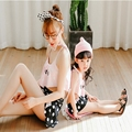 2016 mother daughter swimsuit swimwear two-piece with detachable pat dot sweet loving mixed colors korean style swiming suit