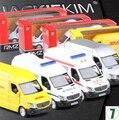 Nuevo Mercedes-benz sprinter 1:36 modelo de coche Para Niños Transportador de la ambulancia de la policía camión De Juguete tire hacia atrás de DHL Carga en caja de colección
