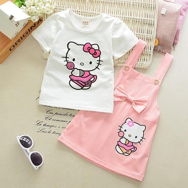 2pcs Girls Dress Hello Kitty Lovely Princess Kids Dresses for Girls 2017 Summer Toddler Girls Clothing Sets Kids Clothes Z10