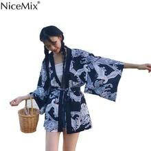NiceMix Summer Harajuku Chiffon Blouse Women Kimono Cardigan Print Crane Wave Loose Tops And Blouses Blusas Mujer De Moda 2019