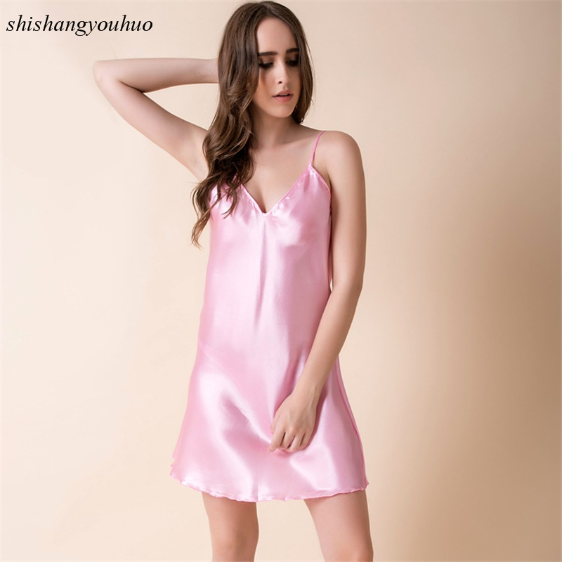 2017 New Summer Sleepshirts Women Sexy Home Clothes Solid -5267