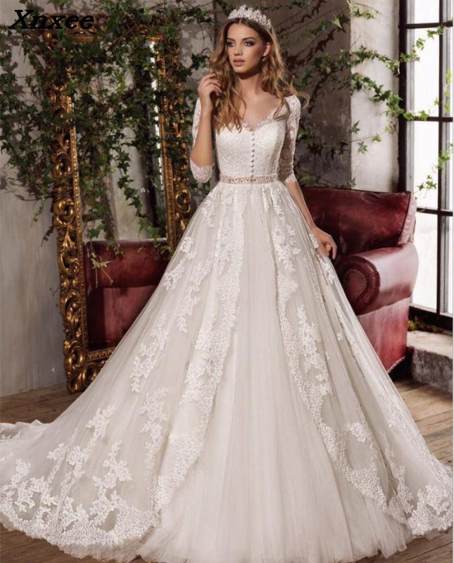 Vestido de Noiva 2018 Винтаж кружевное платье для свадьбы; элегантные с v образным вырезом Кнопки тюль платье трапеция Свадебные платья «Принцесса» П