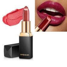 HANDAIYAN Metal Lipstick Bling Dimond Glitter Pearl Red Lip stick Tint Shimmer Color Change Hydrating Makeup