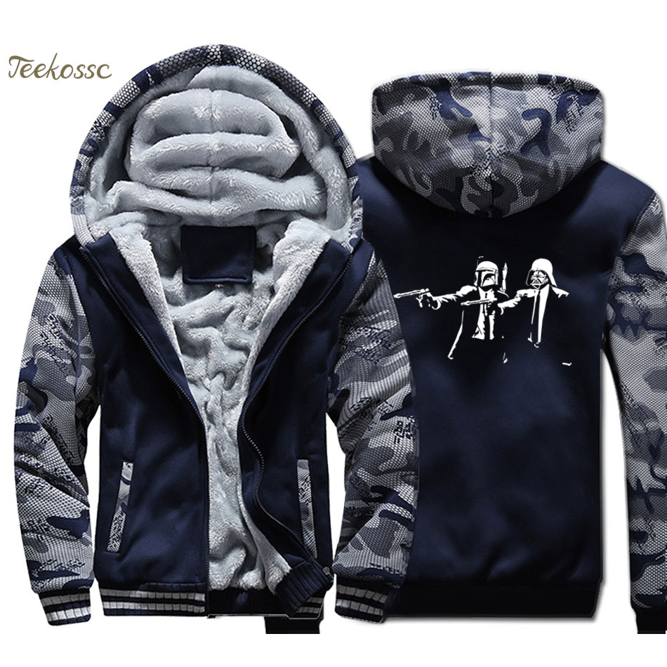 Star Wars Jacket Pulp Fiction Hoodie Men Punk Sweatshirt Print Coat Winter Thick Fleece Warm Camouflage StarWars Streetwear Mens