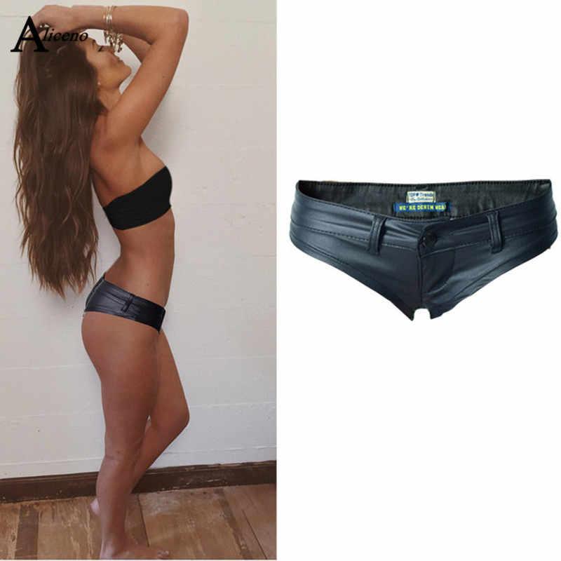 ALICENO Pu Mini Sexy Shorts Womens Low Waist  Shorts fashion sexy club beach skinny Shorts W19032801