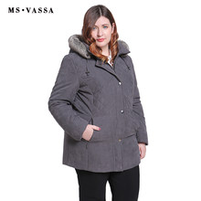 MS VASSA Women Parkas plus size 2018 New Winter Autumn Jackets Turn-down collar removed hood with fur Ladies big size outerwear(China)