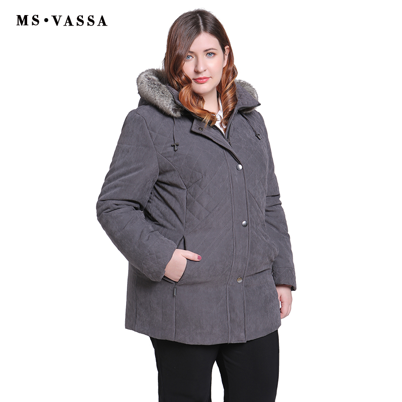 MS VASSA Women   Parkas   plus size 2019 New Winter Spring Jackets Turn-down collar removed hood with fur Ladies big size outerwear