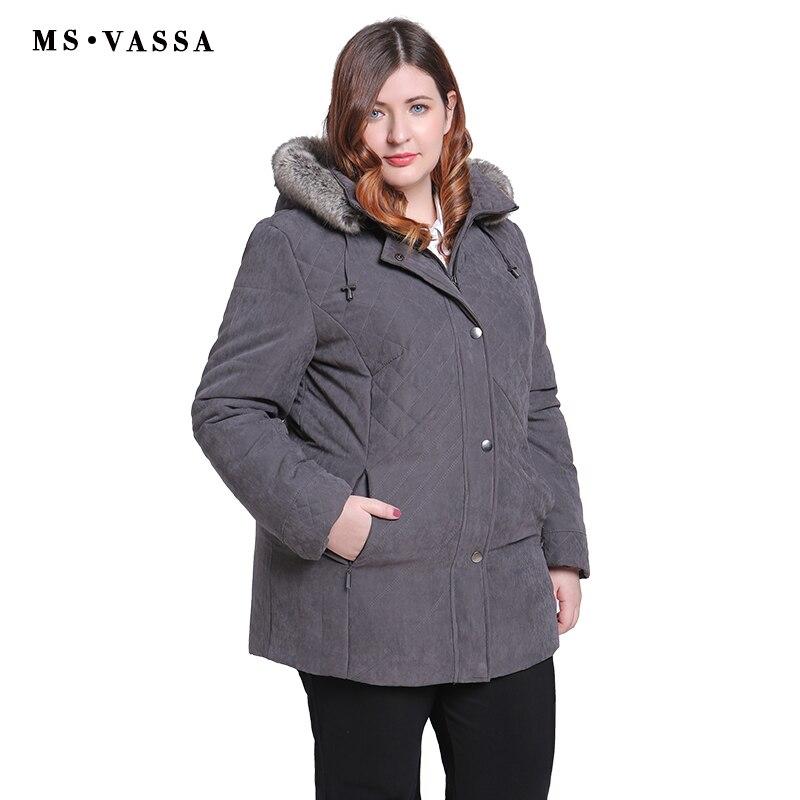 MS VASSA Femmes Parkas plus la taille 2018 Nouveaux Hiver Automne Vestes Turn-down col enlevé capot avec fourrure Dames grande taille survêtement