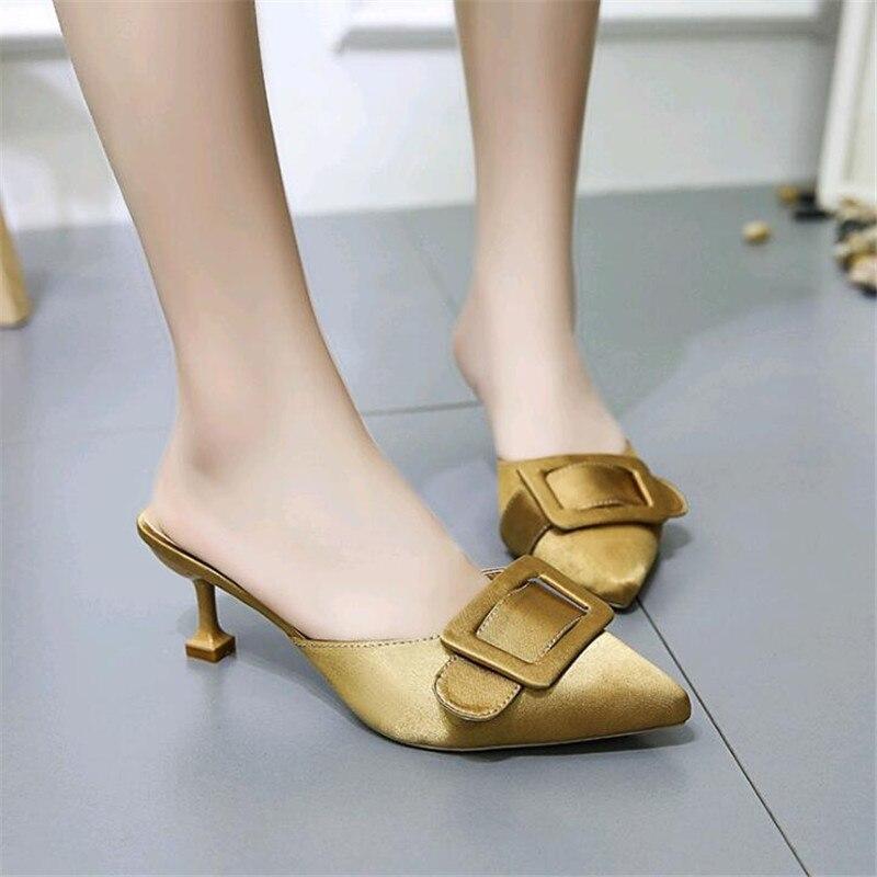 28c6cfd2f Gran amarillo Mulas Negro Cinturón Zapatillas De Sandalias Hebilla Tamaño  Marca Punta Mujer Chanclas Zapatos 2019 verde p8AqwTxFW