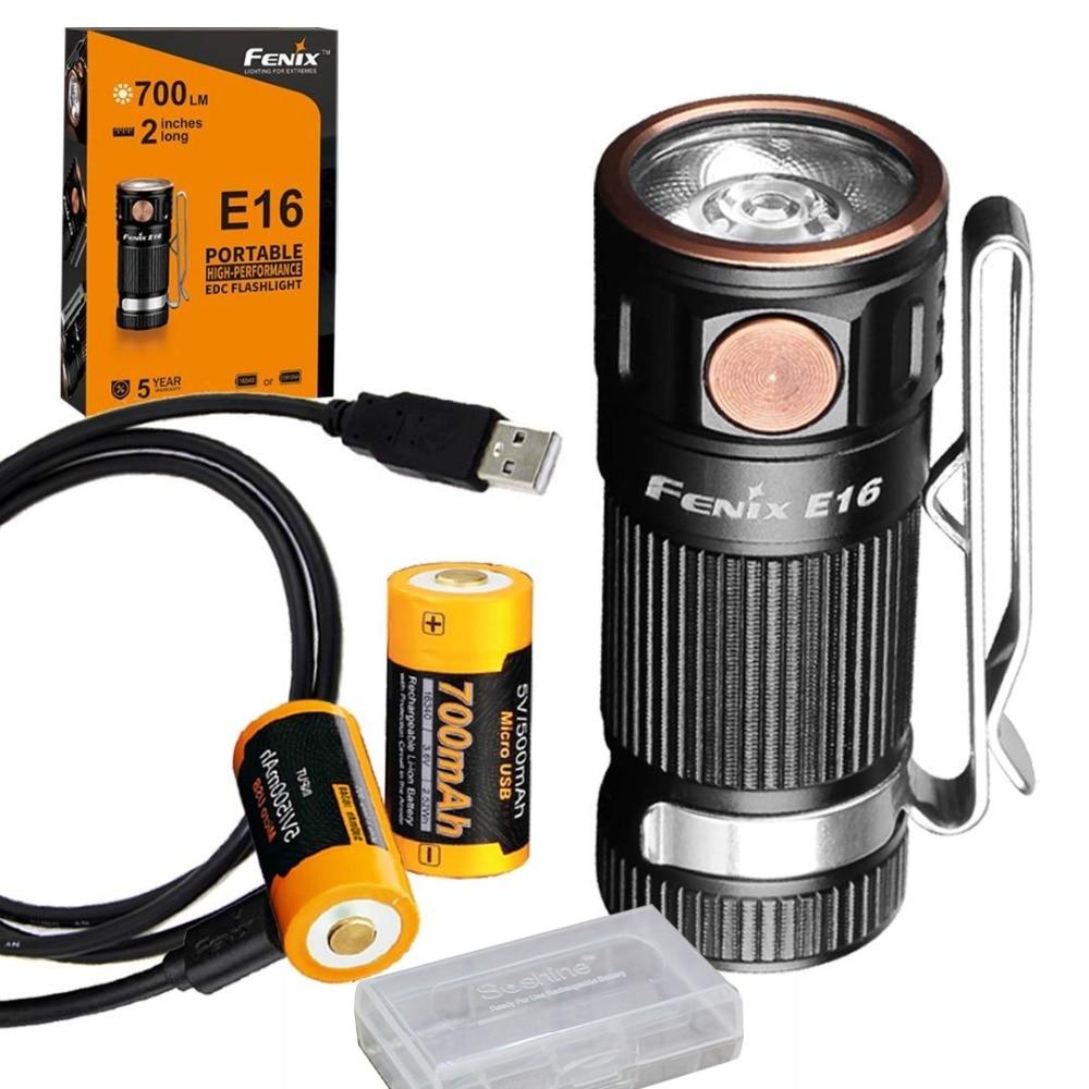Fenix E16 700 Lumen Haute Performance Porte-clés lampe de Poche avec 2 x Fenix ARB-L16-700U USB Rechargeable Batteries