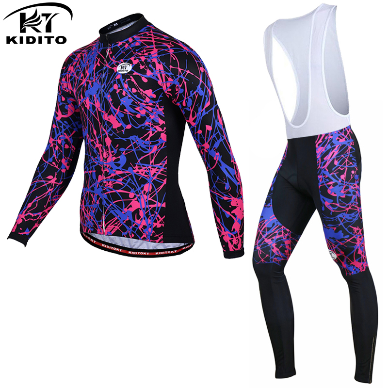 KIDITOKT 100% Polyester Long Sleeve Cycling Jersey MTB Bike Wear Clothes Kit Bicycle Clothing Maillot Ropa Ciclismo 2017 New  2017 mavic maillot ciclismo zebra pattern men personality long sleeve cycling breathable bike bicycle clothes polyester s 6xl