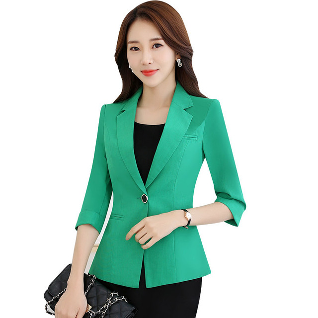 Fmasuth mujeres verde chaqueta mujer verano 3 4 mangas botón bolsillos  Oficina damas blazer y 555adc6c0cdd9
