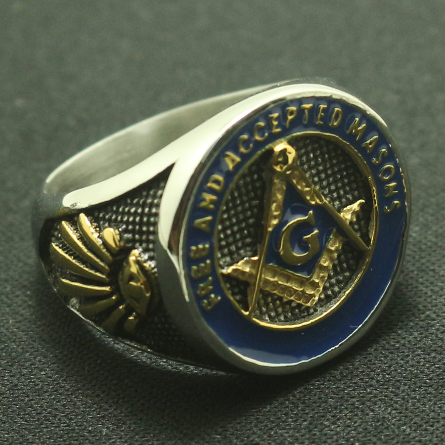 Newest Design Freemasonry Masonic Cool Ring 316L Stainless Steel Blue&Golden Fashion A Gift Free Shipping hot theme masonic freemason freemasonry g pocket watch men gift watch free shipping p1198