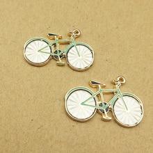 10pcs/lot Drop Oil Bicycle Design DIY Enamel Charms Bracelet Earring Fit Bike Pendants Handmade Alloy Jewelry Accessories YZ354