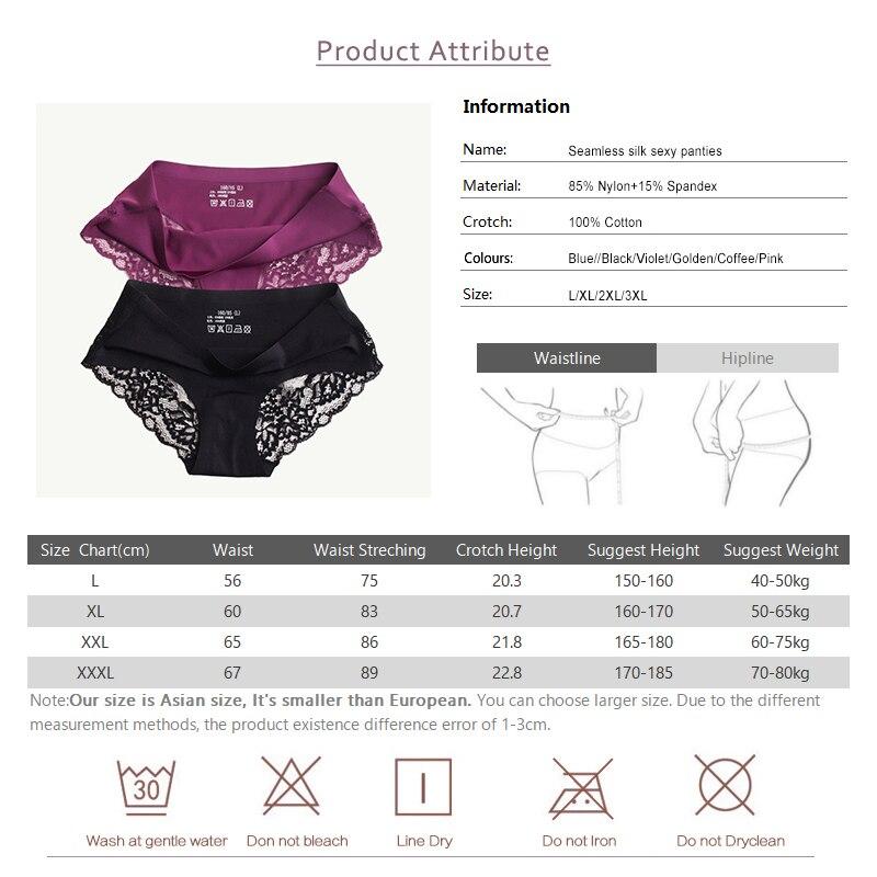 Sexy Lace Panties Seamless Women Underwear Briefs Nylon Silk for Ladies Bikini Cotton Transparent Lingerie DULASI 3 pcs set 4