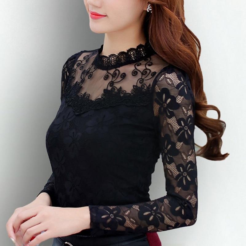 Blusas Femininas 2019 mujeres Blusas primavera otoño moda Sexy camisa Slim Tops de encaje de manga larga o-Cuello ocio negro/blanco s-5XL