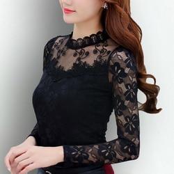 Blusas femeninas 2019 Blusas de mujer primavera otoño moda Sexy Camisa ajustada Tops de encaje de manga larga cuello redondo ocio negro/blanco s-5XL