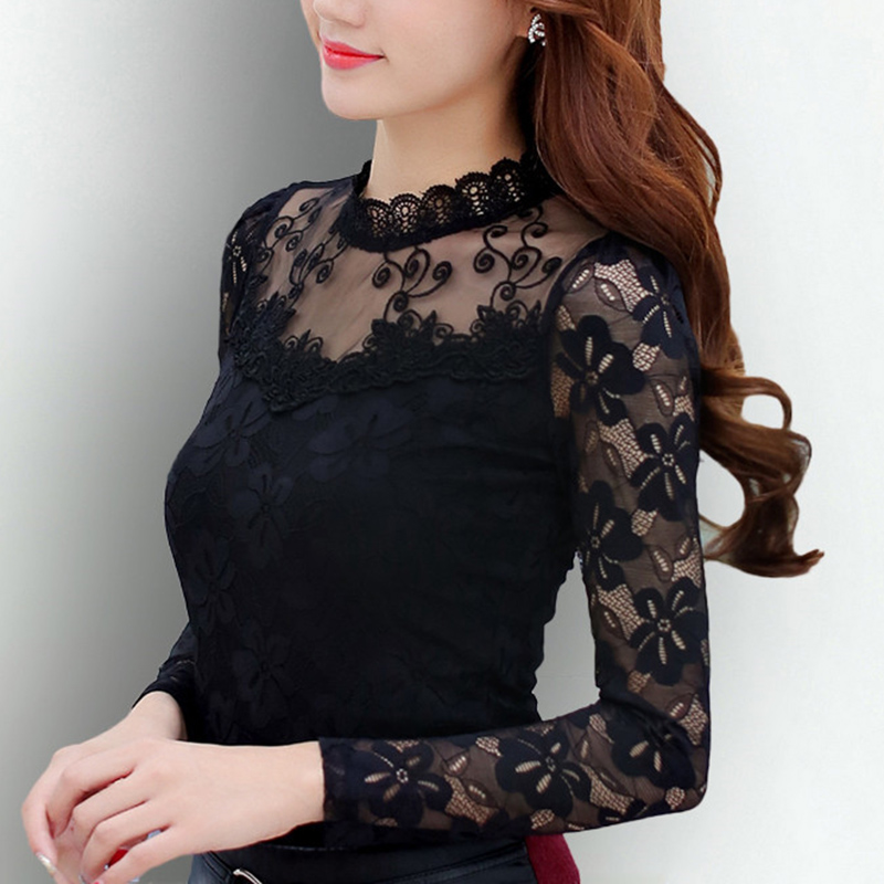 Femininas Blusas 2019 Ladies Blouses Spring Autumn Trend Horny Slim Shirt Tops Lace Lengthy Sleeve O-Neck Leisure Black/white S-5Xl