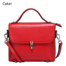 Caker Brand 2017 Women Top Real Cow Genuine Leather Handbags Lady Black Red Lock Shoulder Bags High Quality Flap Casual Totes