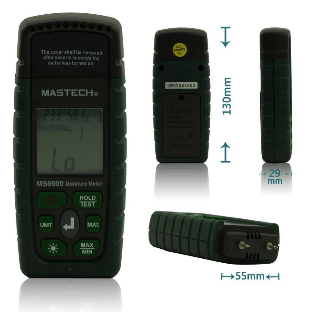 MASTECH MS6900 Portable Digital LCD Hygrometer Wood Moisture Meter Tester Ambient Temperature Humidity Meter portable pin type wood moisture meter mc7806