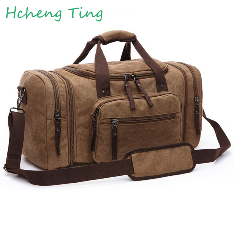 ФОТО Vintage Canvas Men Travel Bags Women Luggage & Bags Leisure Duffle Bag Large Capacity Tote Business Bolso