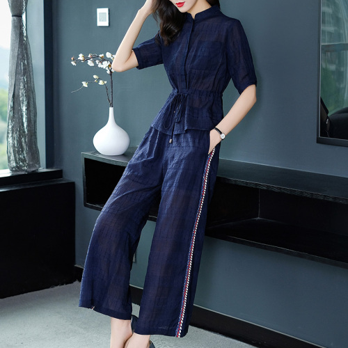 2019 Summer Two Piece Sets Outfits Women Blue Pink Short Sleeve Tunics Tops And Wide Leg Pants Suits Office Elegant 2 Piece Sets 40